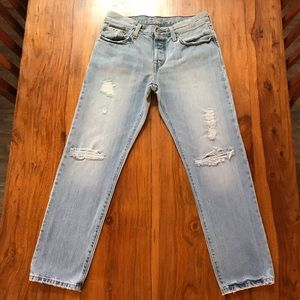Levi's 501 CT Light Wash Button Fly Distressed 26